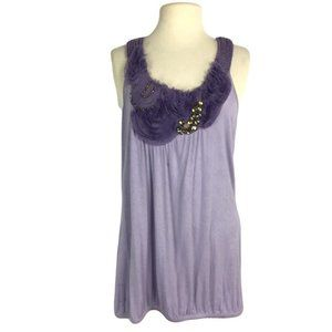 Maurices 1X Embellished Blouson Tank Top Purple